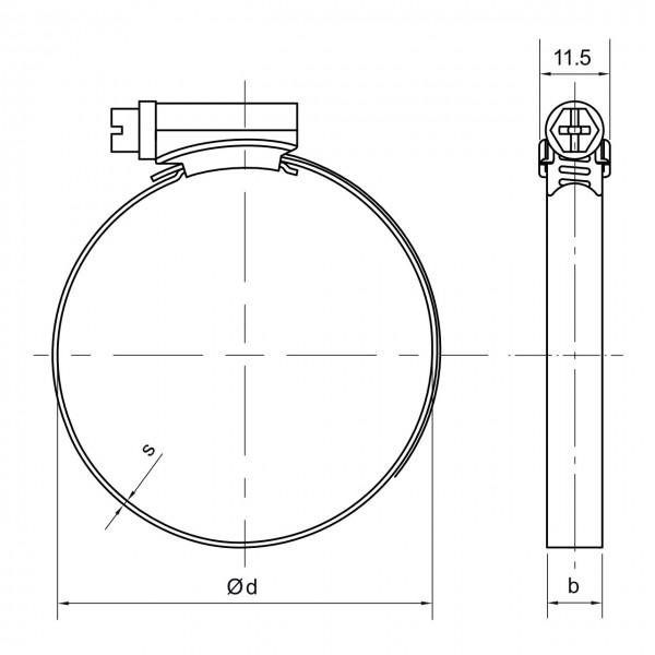 Schlauchschelle mit 090 - 110 mm Spannbereich, 9 mm Bandbreite, W2, DIN 3017-1