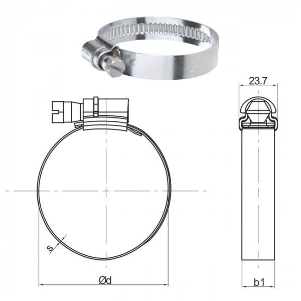 Schlauchschelle mit 242 - 277 mm Spannbereich, 20 mm Bandbreite, W5 INOX 1.4401